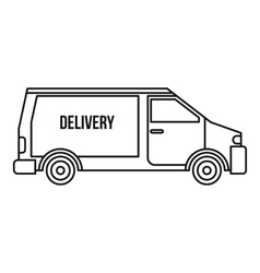 Delivery van icon outline style vector image