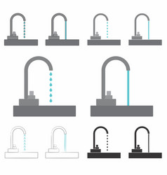 Drinking fountain drop and gushing vector