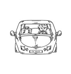 Driver in car vector