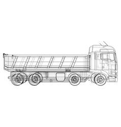 Dump truck tracing of 3d eps 10 vector