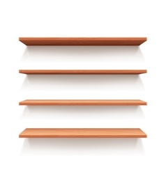 Empty wall book shelf wood shelves vector