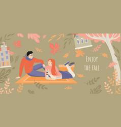 enjoy fall banner inviting to a picnic vector image