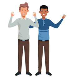 Family father with adult son cartoon vector