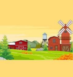 Farm house in autumn forest background vector