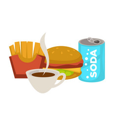 fast food meals and drinks hamburger and soda vector image