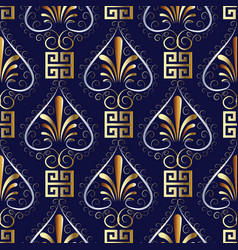 Floral greek key meander seamless pattern blue vector