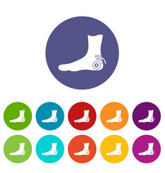 foot heel icons set flat vector image