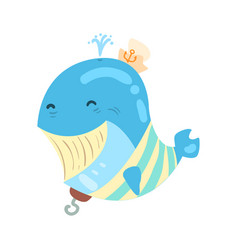 Funny cartoon smiling whale pirate colorful vector