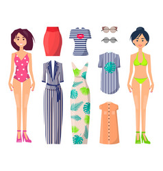 Girls in swimwear with stylish summer clothes set vector