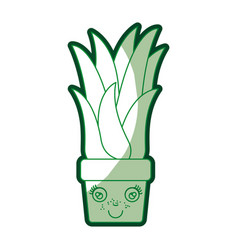 green silhouette of caricature of corn plant in vector image