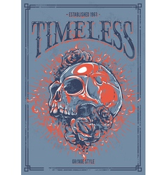 Grunge poster with skull vector