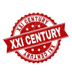 Grunge textured xxi century stamp seal vector