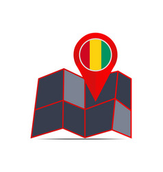 Guinea map icon isolated with country flag vector