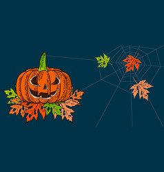 halloween 31 october a pumpkin with a carved vector image