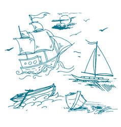 hand drawn logo of vintage sailing ship in vector image