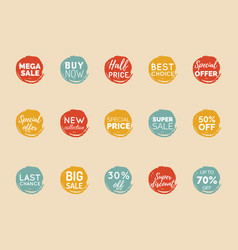 hand drawn set of speech bubbles with sale vector image