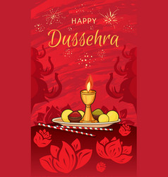 Happy dussehra concept banner cartoon style vector