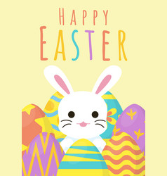 happy easter greeting background with egg around vector image