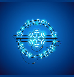happy new year blue neon sign vector image