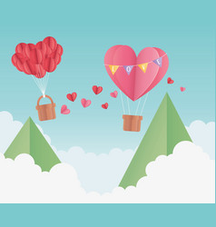 happy valentines day origami paper air balloon vector image