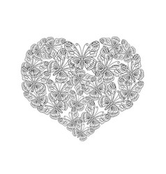 heart shape from black and white butterfly vector image