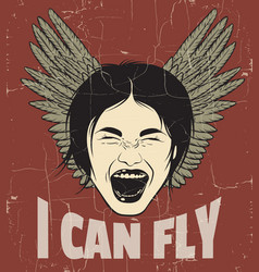 I can fly quote typographical background vector