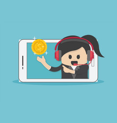 iness concept cartoon smartphone help a vector image