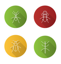 Insects flat linear long shadow icons set vector