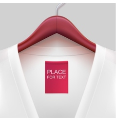 jacket with label hanging on a hanger vector image