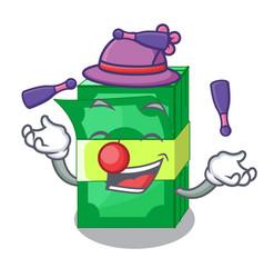 Juggling set money in packing bundles cartoon vector
