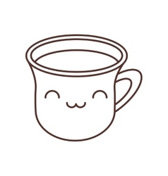 Kawaii cup coffee break beverage thin line vector