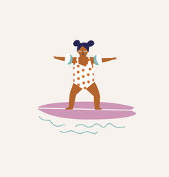 kids surfing in summer travel vector image