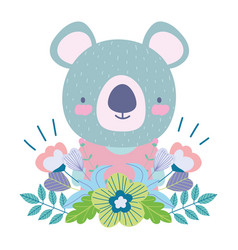 koala with flowers leaves decoration cartoon cute vector image