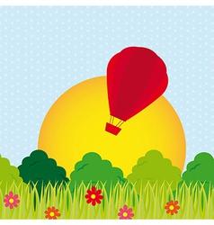 Landscape hot air balloon vector
