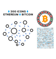 lightning network flat icon with bonus vector image