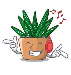 Listening music cartoon zebra cactus blooming in vector