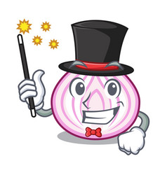 Magician fresh slice onion isolated on mascot vector