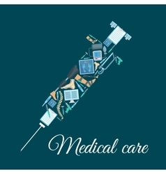 Medical icons shaped as syringe vector