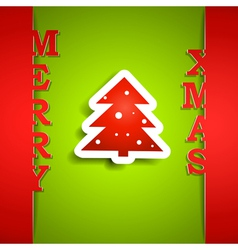 Merry Xmas paper card vector image