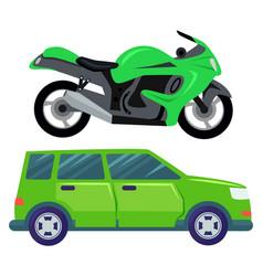 Motorbike and vintage retro van transport set vector