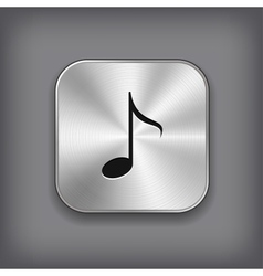 Music note icon - metal app button vector image
