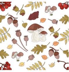 nut landscape autumn nature seamless pattern vector image