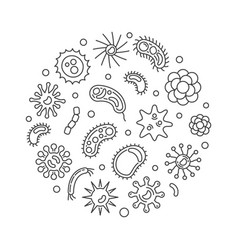 Pathogen and viruses round minimal line vector