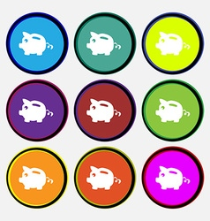 Piggy bank icon sign Nine multi colored round vector