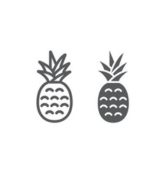 pineapple line and glyph icon fruit and ananas vector image