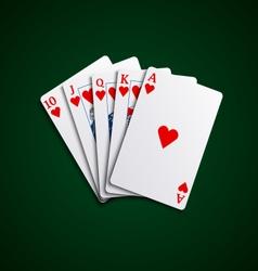 Pocker cards flush hearts hand vector image