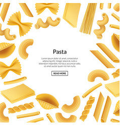 realistic pasta types background banner vector image