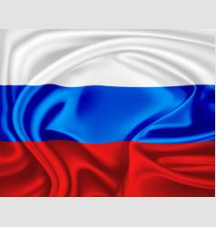 Realistic russian flag symbol satin drape vector