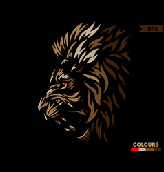 Red eye lion brown version vector