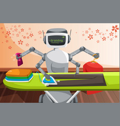 Robot ironing clothes vector